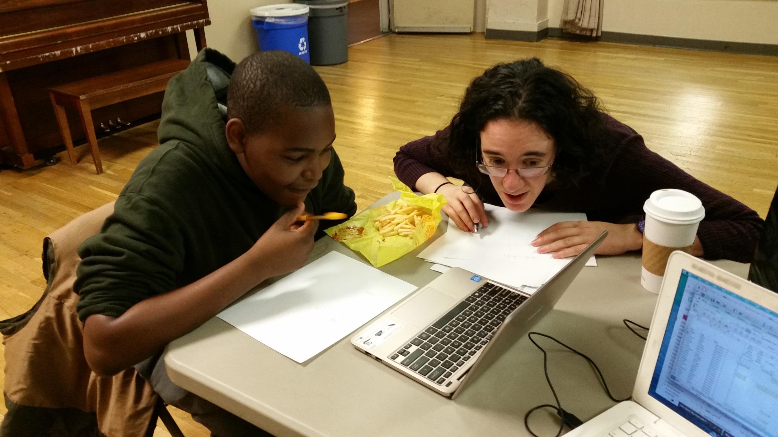 Jahleel and Amy practice Algebra