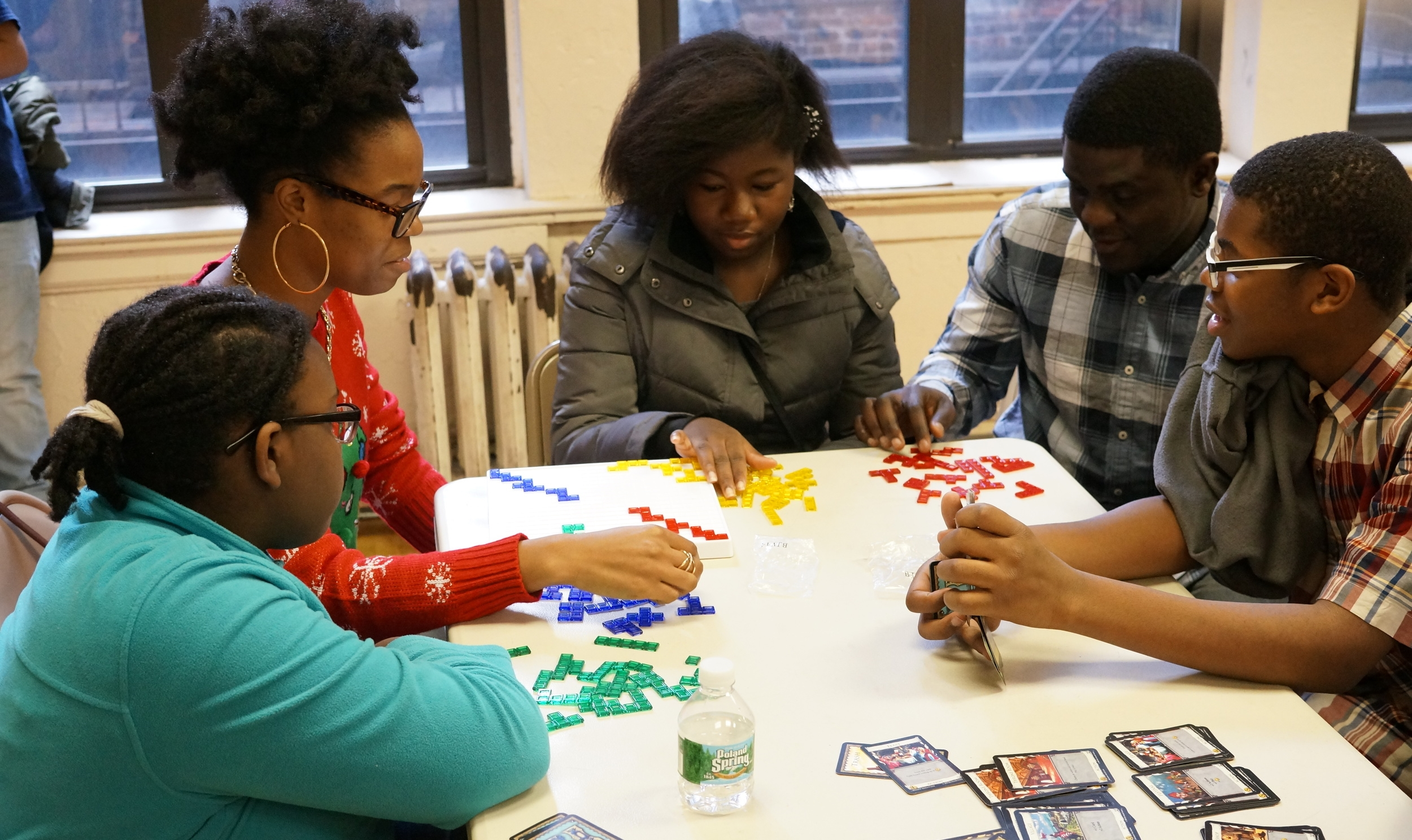 Students and staff play Blokus