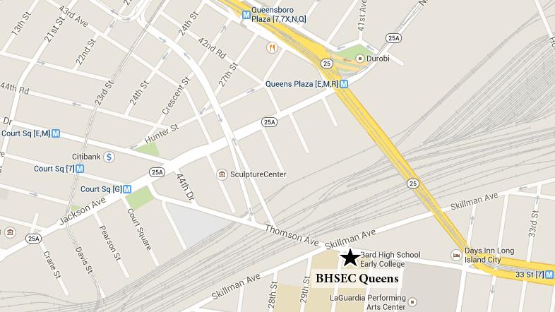 Map of BHSEC Queens
