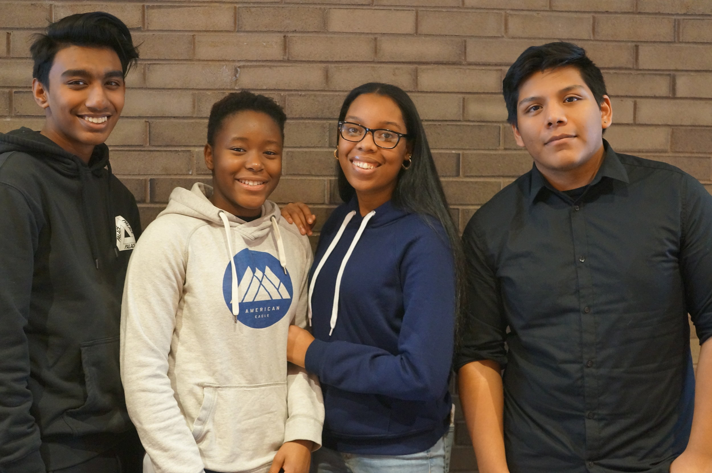 Rashik, Eli, Tanasia, and Andy in January 2018 at our MATHCOUNTS prep event. All four of these high school students coach math teams at our partner middle schools!