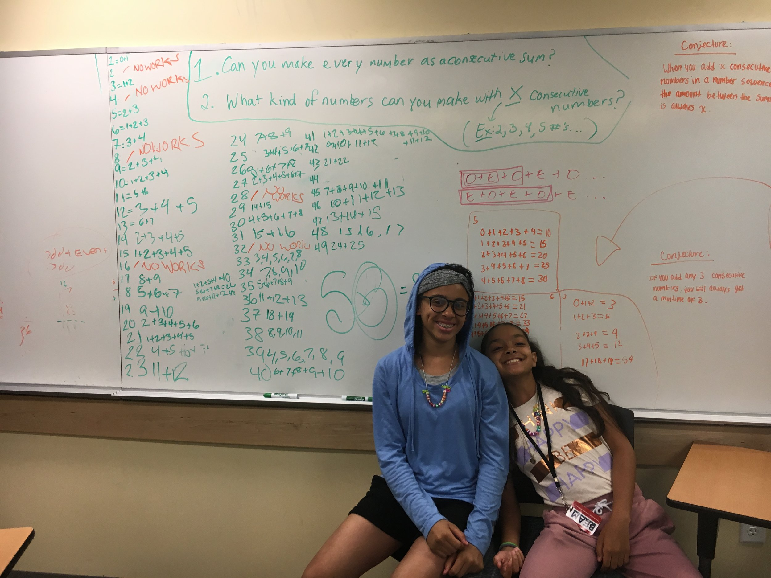 Alisa and Angie pose with their work after Solving Big Problems.