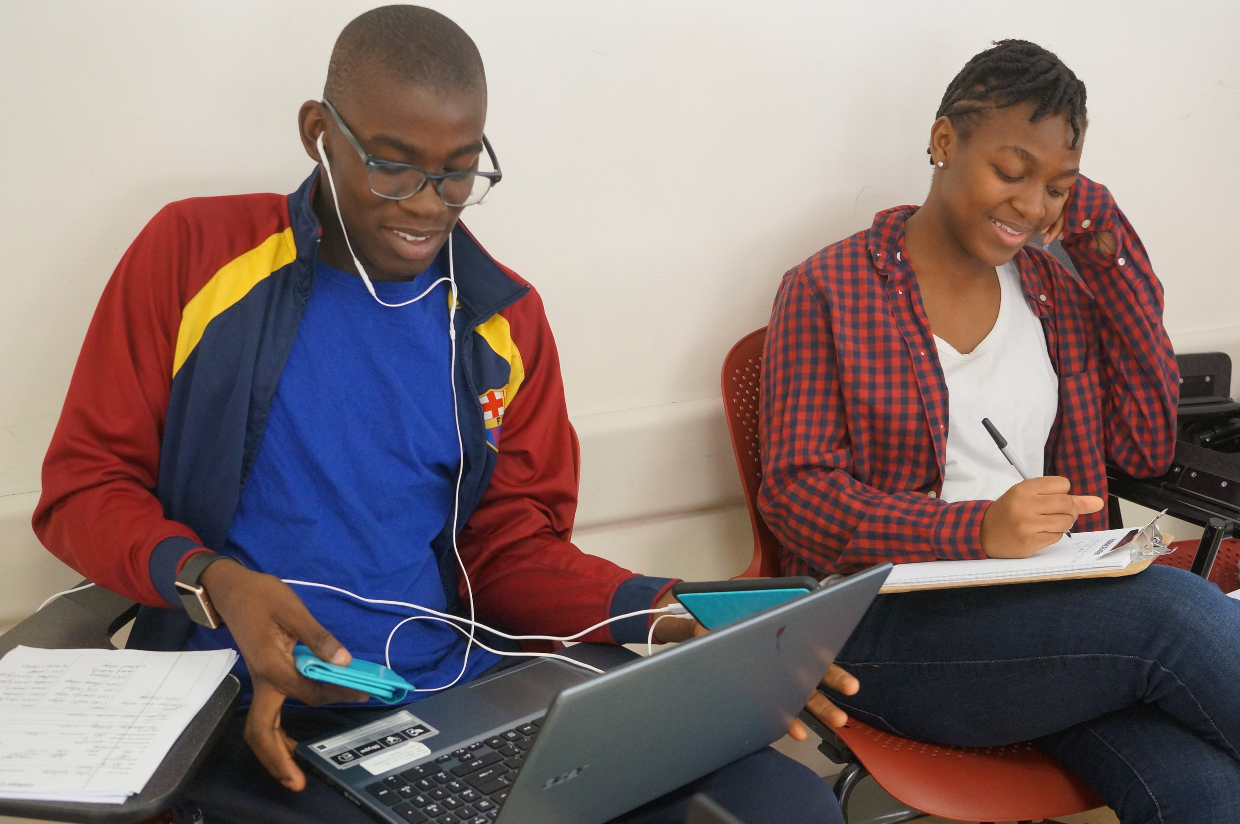 John starts early! Here he is at BEAM College Prep Week 2016 along with Zereena, also BEAM '12, who attends SUNY Binghamton. They're both working on their essays!