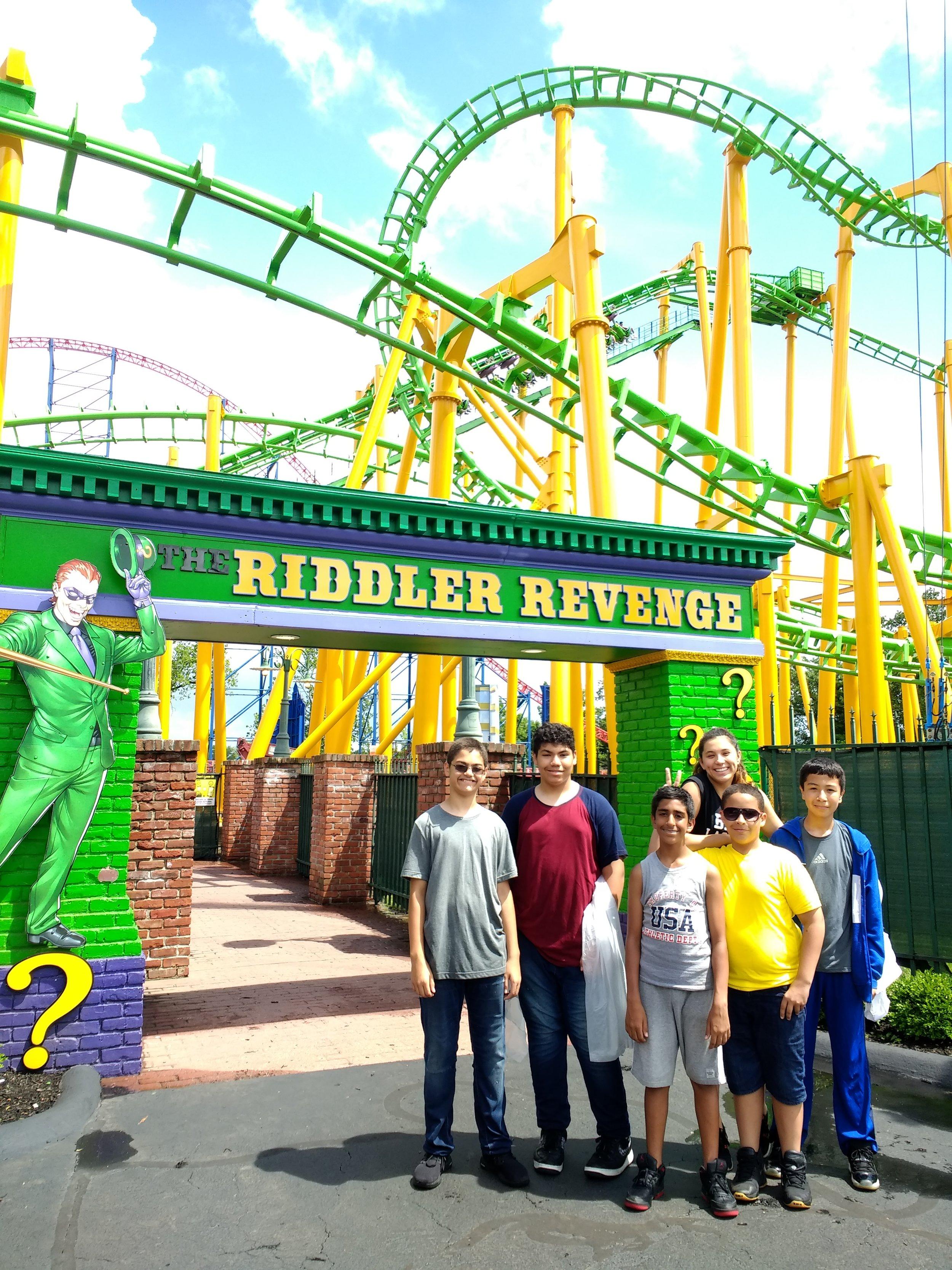 BEAM Summer Away students, along with veteran counselor Kaylynn, enjoy a field trip to Six Flags New England.