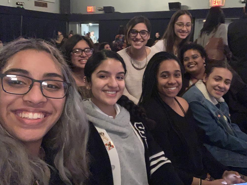 BEAM staff, Sylvia and Elyse, with the Young Women's Empowerment group on a field trip to see Reshma Saujani, founder of Girls Who Code, in conversation with Stephanie Ruhle from MSNBC.