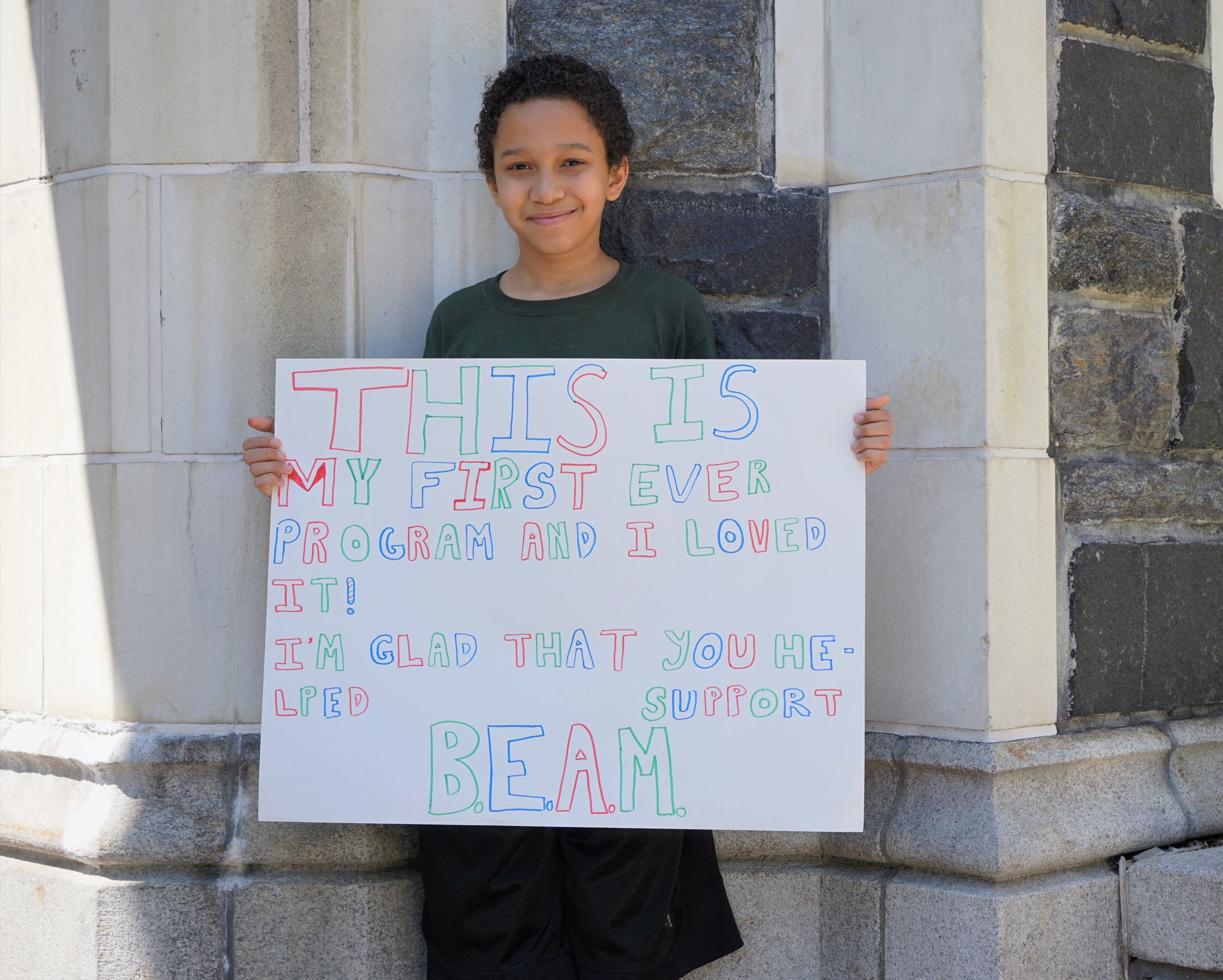 """This is my first ever program and I loved it! I'm glad that you helped support BEAM."" —Hayden, BEAM Discovery"