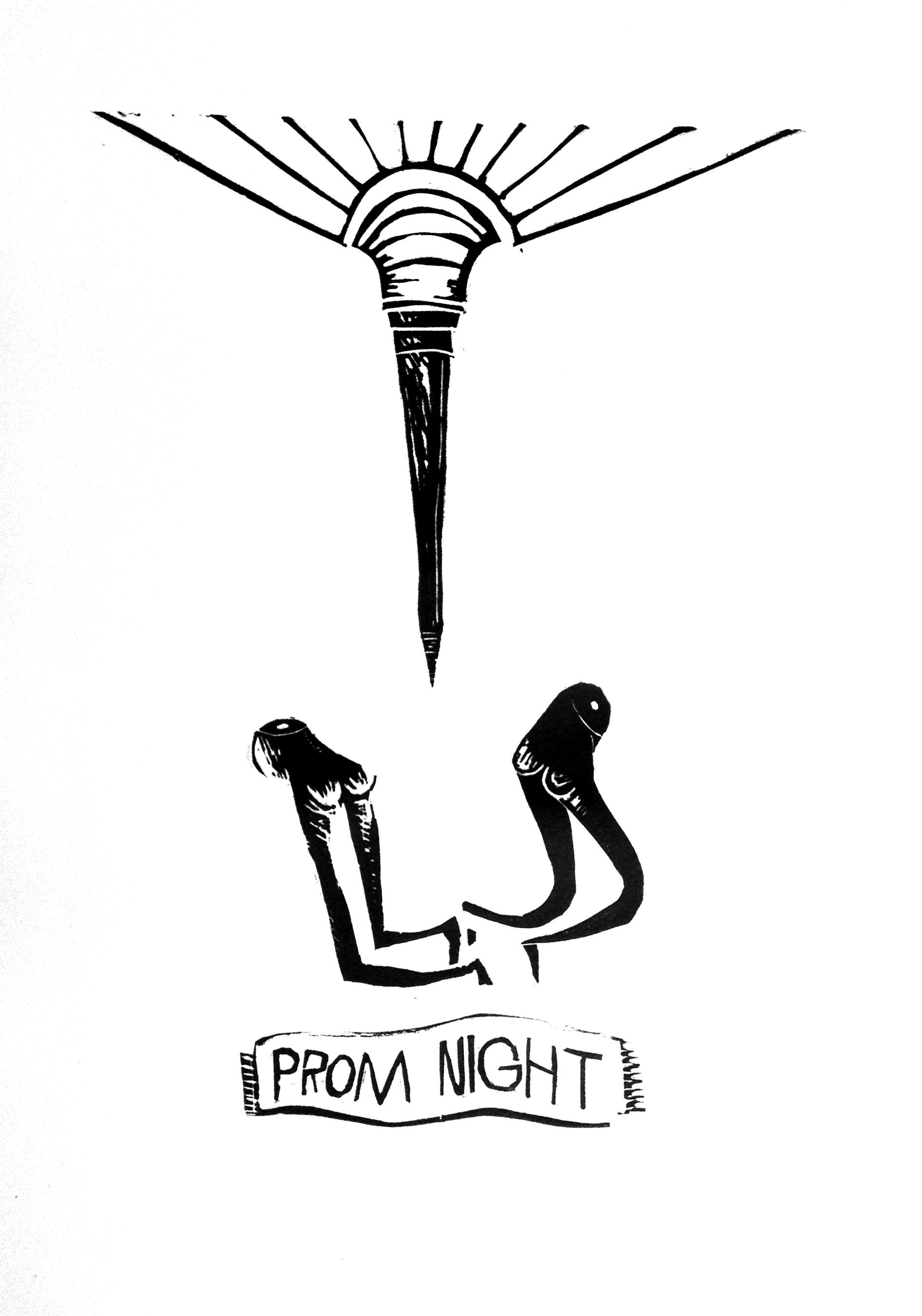 Prom Night, 2013, linoleum block print