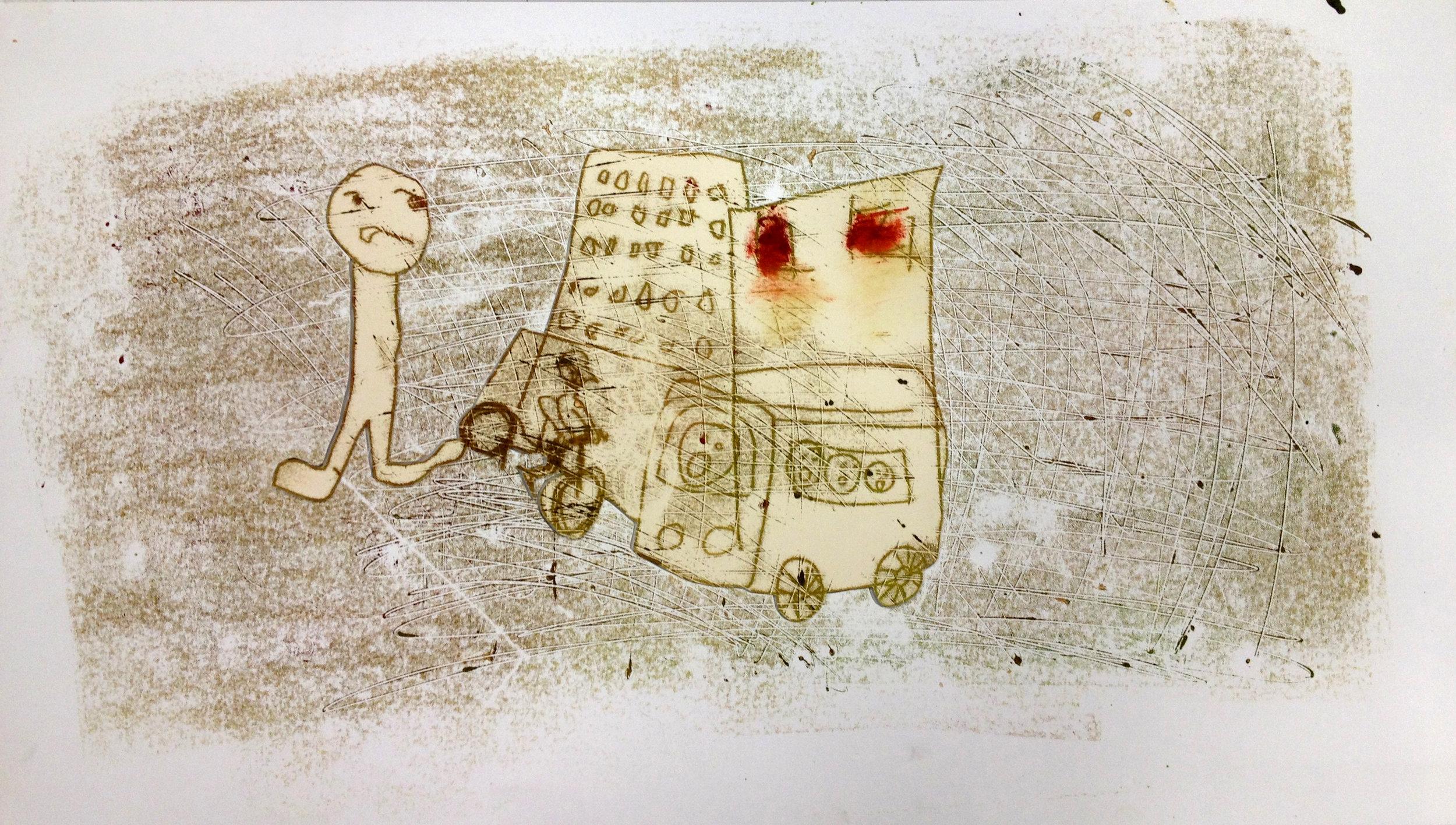 Bus Crash (collaboration with Ashley Carrega), 2013, trace monotype