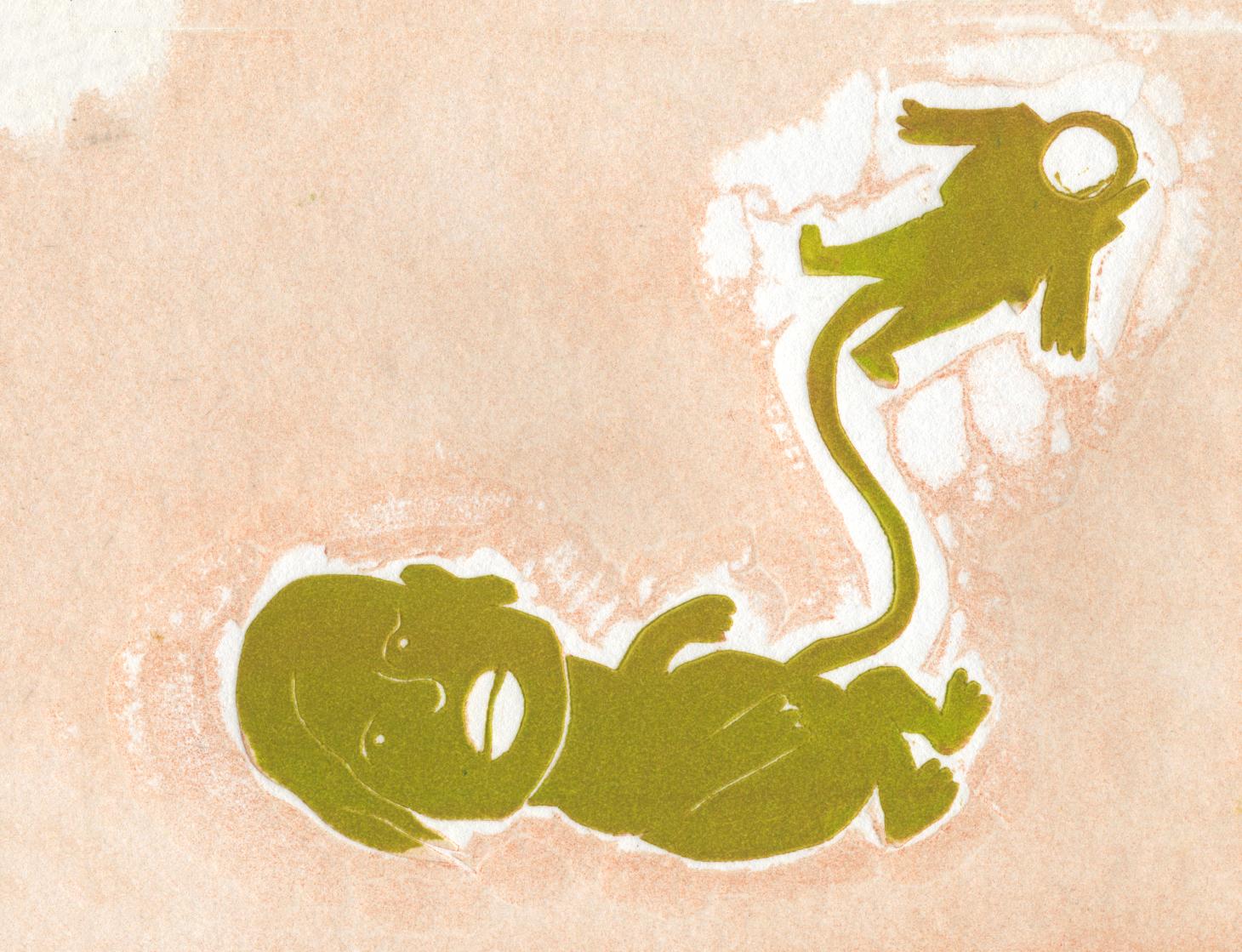 Birth Of An Astronaut, 2013, linoleum block print
