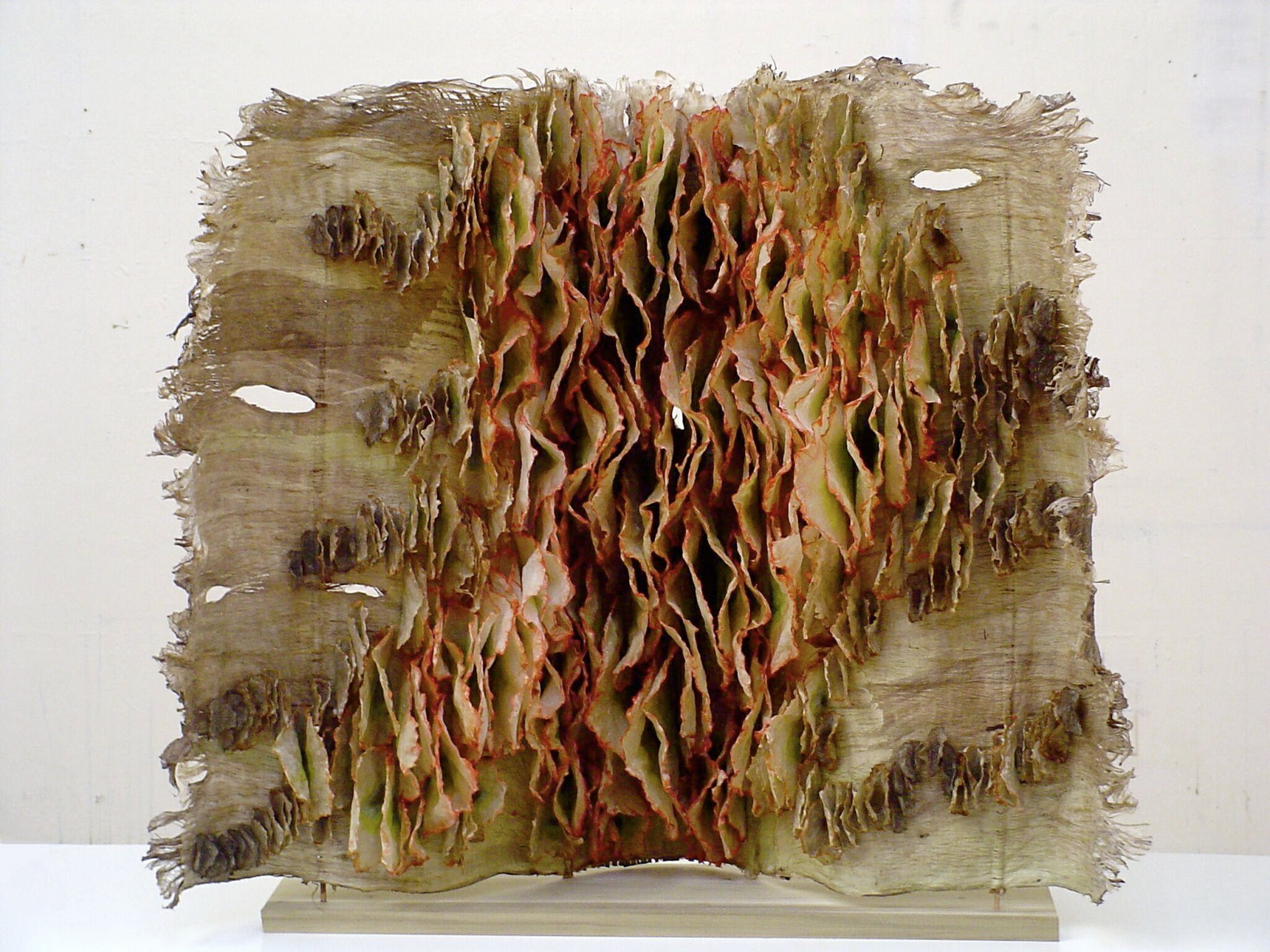 """That's Life, 2005, kozo, abaca, flax, oak inserts, poplar, 30"""" x 35"""" x 12"""""""