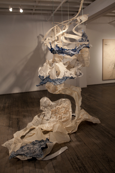 Drawing Earth, 2010, abaca and kozo handmade paper, wire, pigment, aluminum, 12' x 10' x 10'