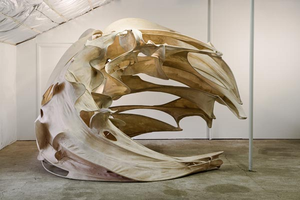 It's only a Wave, Ma'am, 2006, stainless steel, abaca, handmade paper, 9' x 12' x 13'