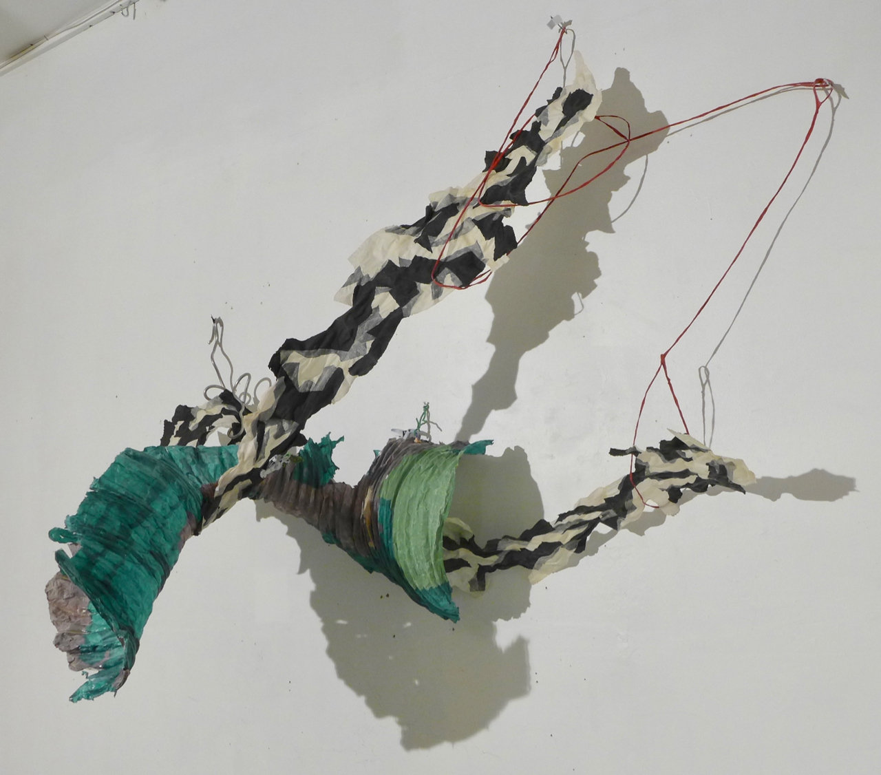 Giving in any guise , handmade cast abaca papers, fiberglass, armature wire, 4'x 5' x 3', 2019