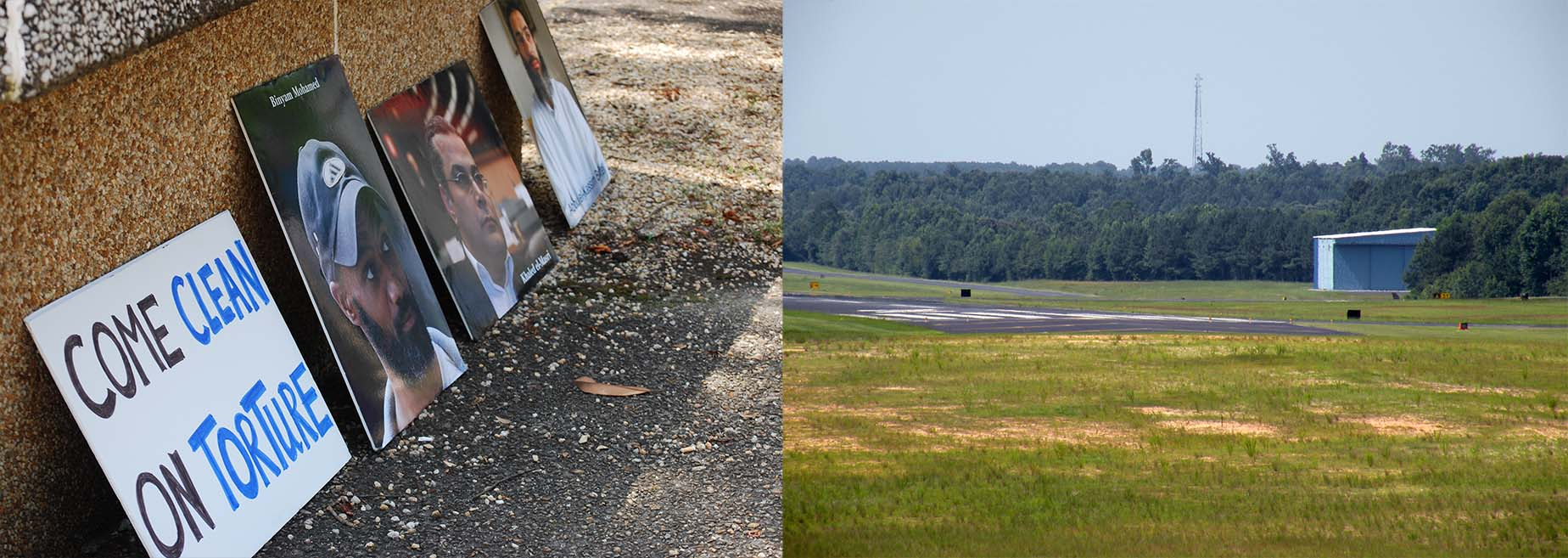 left: photos of survivors of extraordinary rendition line the sidewalk after a public vigil in the state capital in 2015. Right: one of the hangars used by aero contractors, located at the johnston county airport in smithfield, nc.