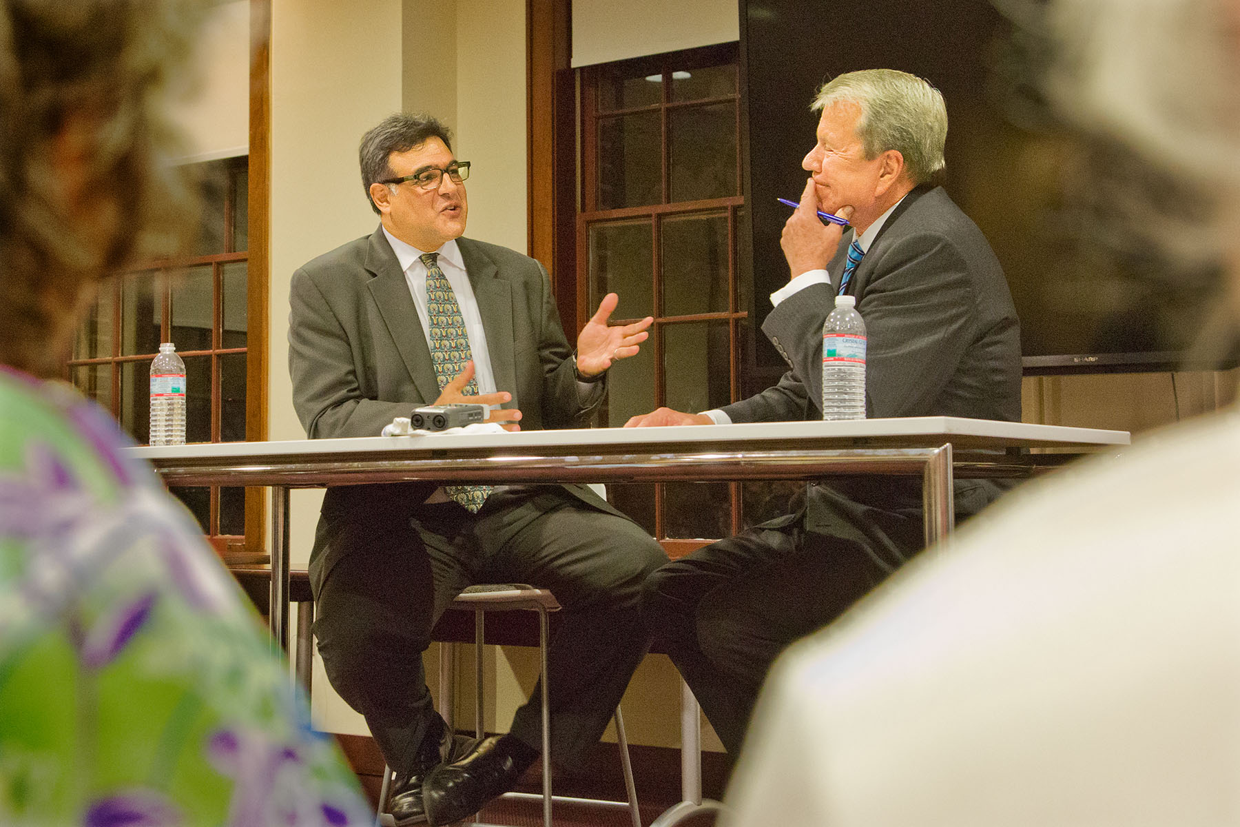 John Kiriakou was interviewed Oct. 27, 2015, by WRAL journalist David Crabtree at University of North Carolina.  (Photo credit: © Jerry Markatos)