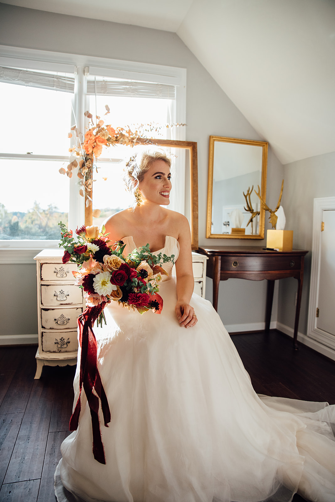 Fall Wedding, Bride with burgundy and blush bridal bouquet, Color Fields, The Meadows- Raleigh