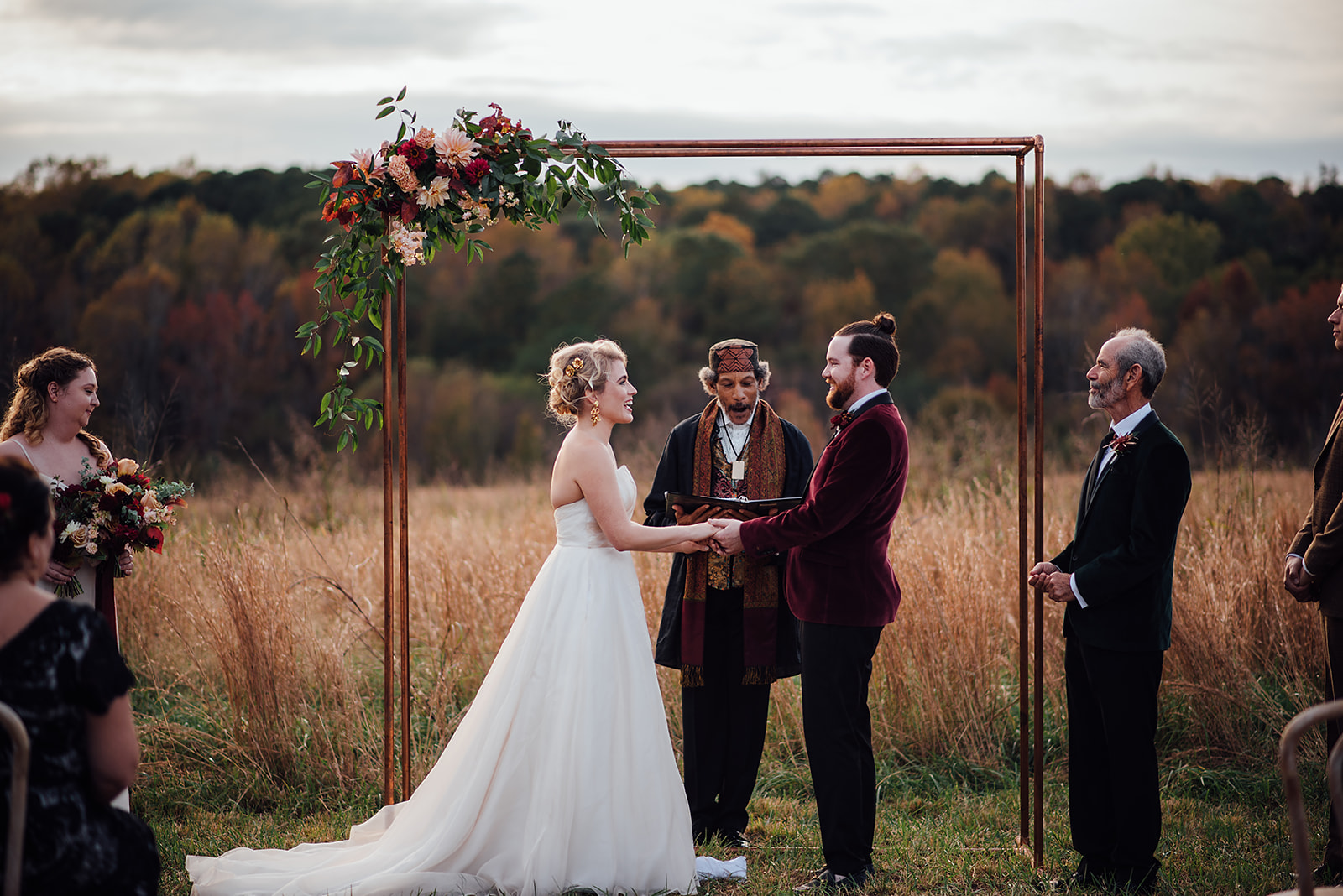 Fall Wedding, Blush and Burgundy flowers, Arbor, Velvet, Color Fields, The Meadows- Raleigh