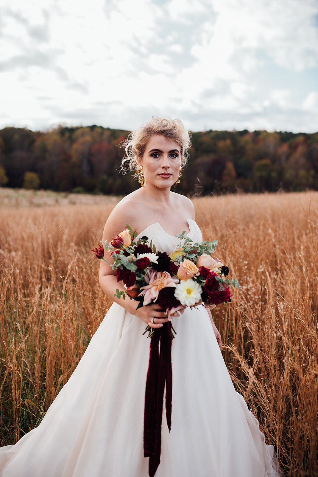 Fall Wedding, Blush and burgundy bridal bouquet, velvet ribbon, Color Fields, The Meadows- Raleigh