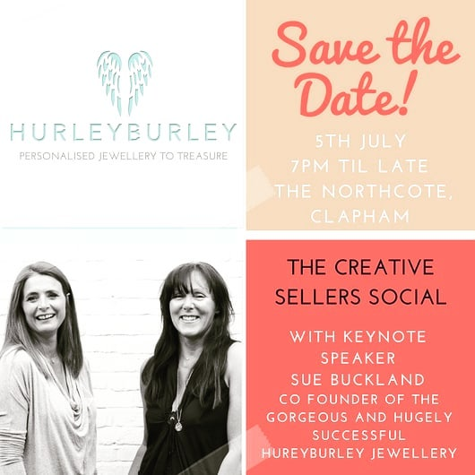 So excited that in a weeks time on  Thursday 5th July at 6:30pm in #clapham @wearesos15 and myself will be hosting our first ever Creative Sellers Social with the amazing Sue Buckland Co founder of @hurleyburleyjewellery as our guest speaker!  We'll be talking all things to do with running a creative retail business both on and offline and we're so delighted to already have so many amazing companies signed up of all shapes and sizes!  If you already run your own company or are looking to turn that hobby into a day job and can get to @thenorthcotesw in Clapham we'd love for you to attend! The remaining tickets are just £15 and the link to buy them online can be found in my insta bio @sallygollandconsultancy  An evening for sharing stories, meeting like minded business owners, learning something new but ultimately to leave feeling empowered, motivated and ready to take your business to the next level whether that's global domination or simply an extra few orders a week!  DM with any questions!