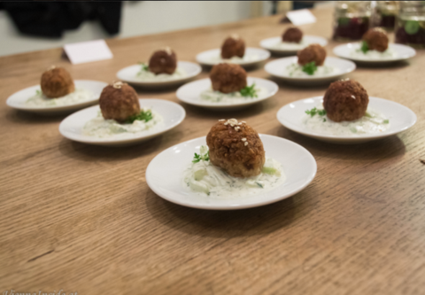 Quinoa dumplings with mealworms