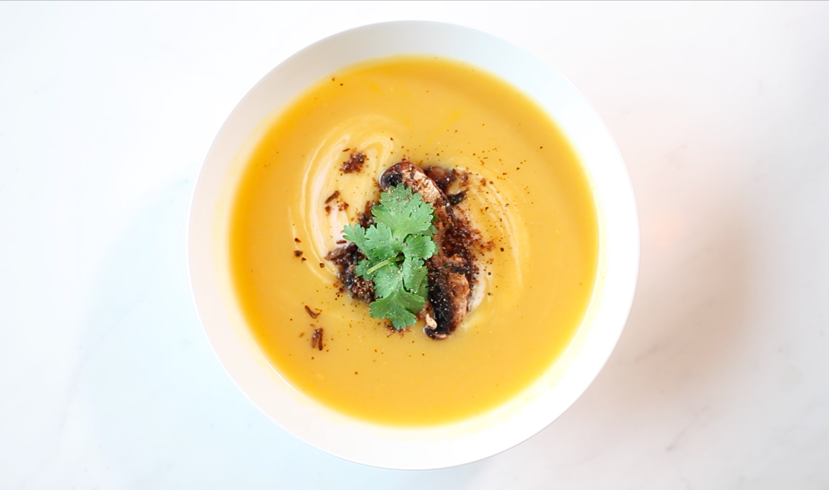 Pumpkin soup with mealworm powder.