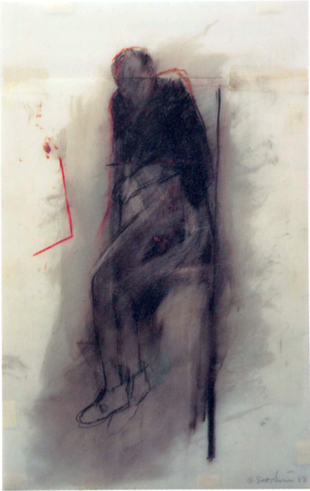 """""""Seated Figure with Red Angle,"""" Betty Goodwin (1988)"""
