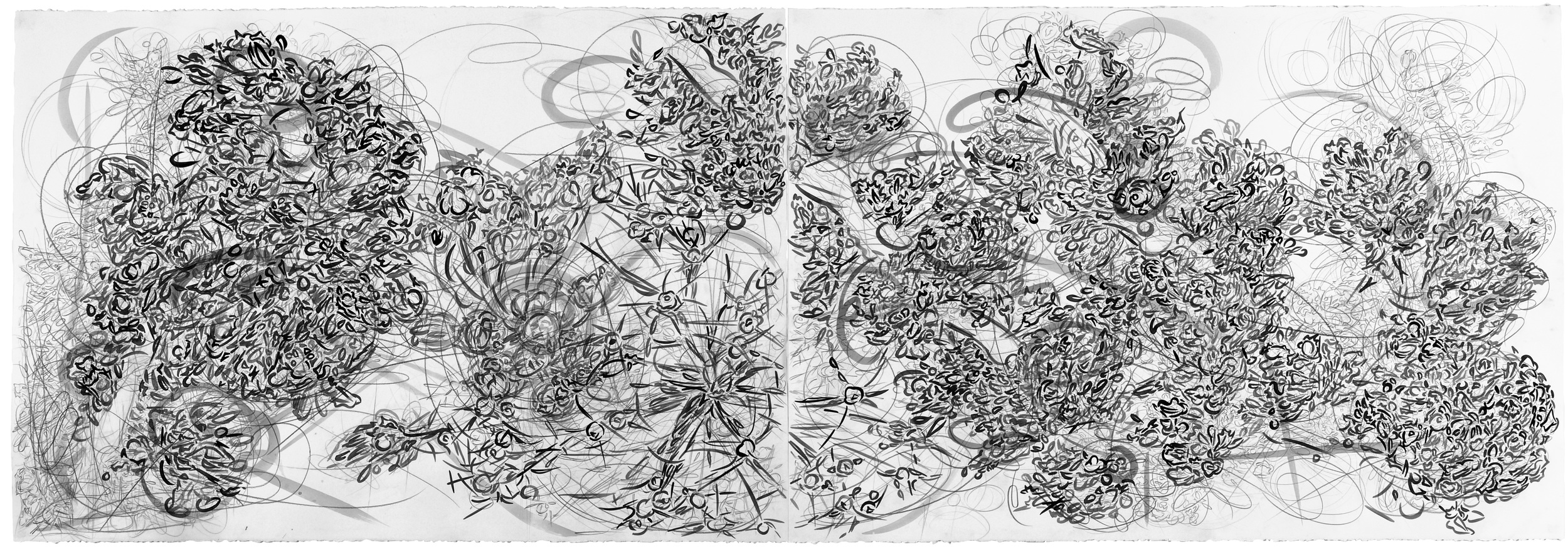 "Volitia and the Red Bud: Misery Loves Company,  2012, pencil and gouache on paper, 30"" x 88"""