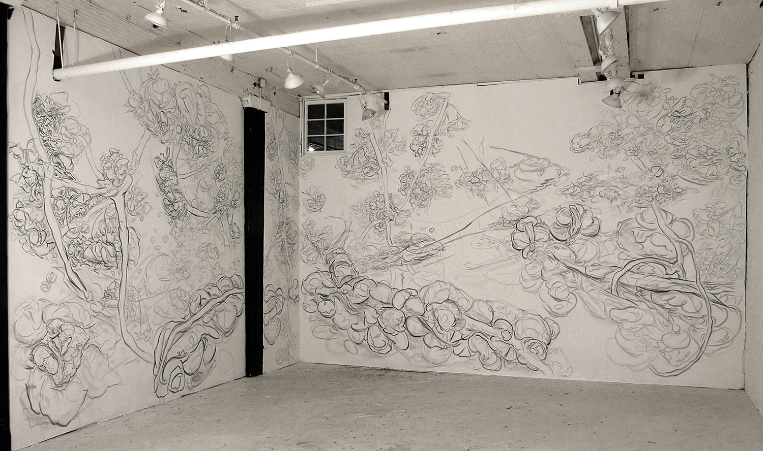 Spring Festival: Ice Bridge with Blossoms, 2007,pencil and acrylic on wall, Emergency Arts, New York, NY