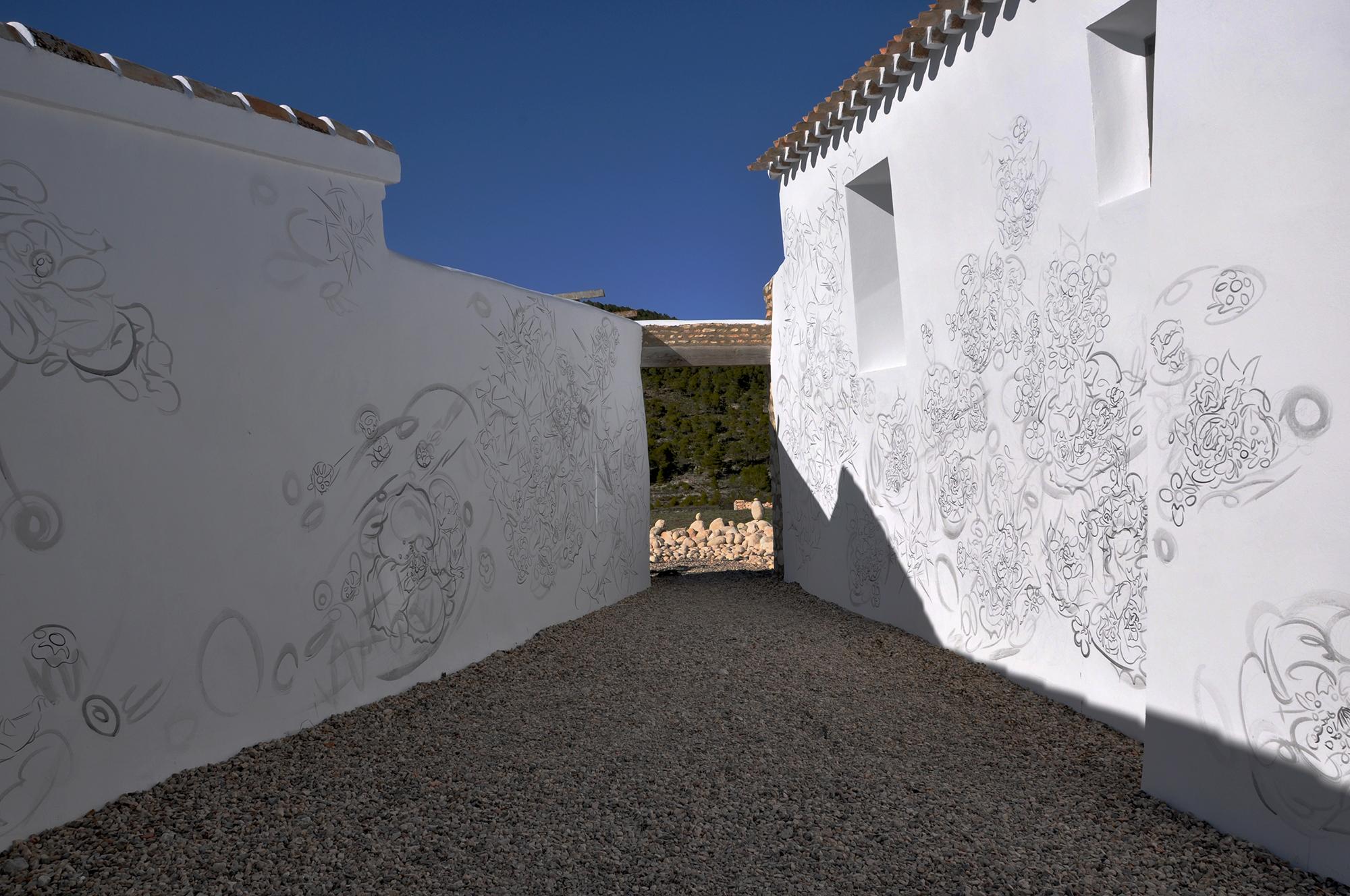 SUNTRAP, 2011, acrylic on wall.   Joya: arte + ecología, Cortijada Los Gázquez, Vélez Blanco (Almería), Spain