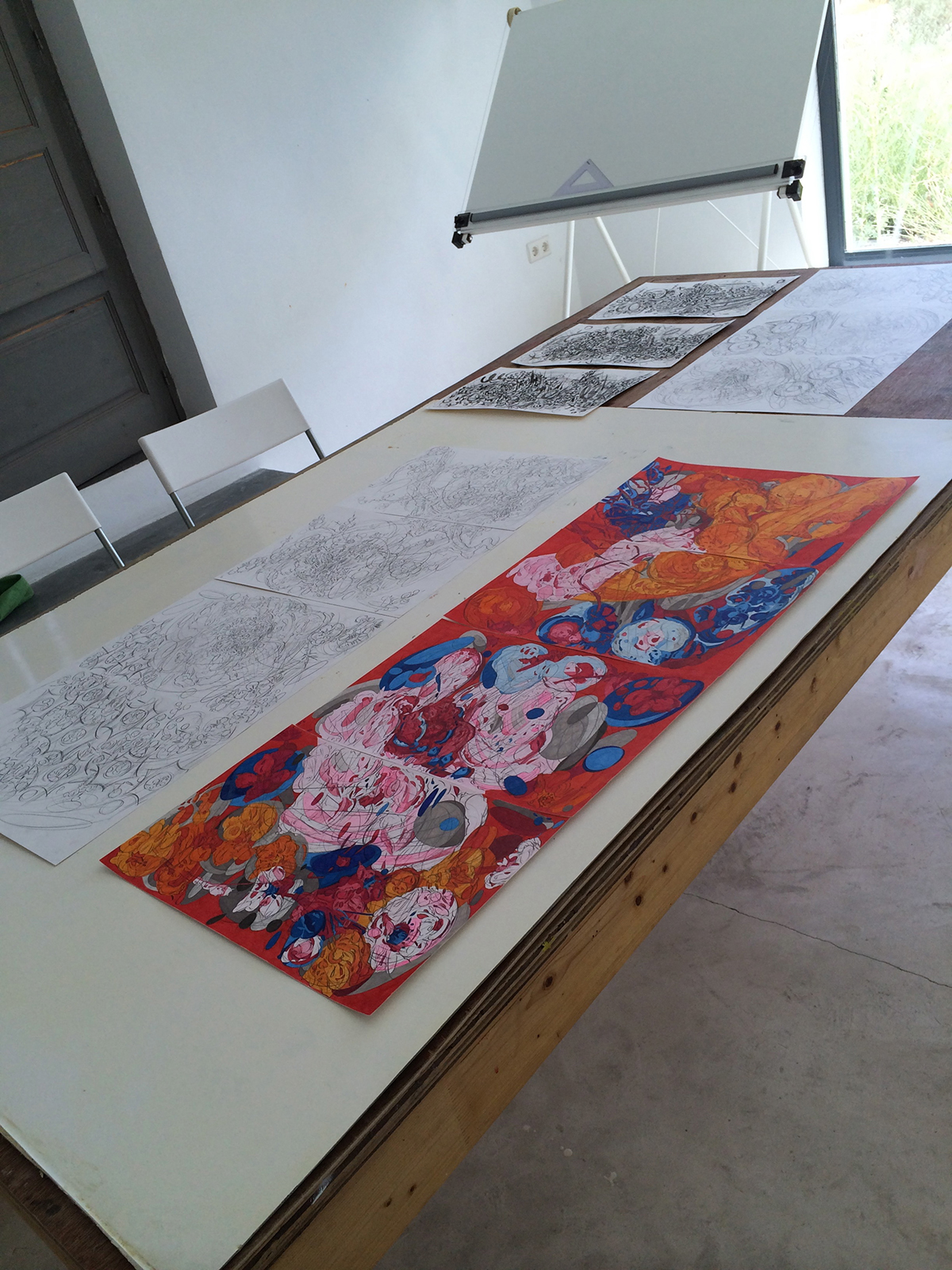 Artist's drawings in the studio.