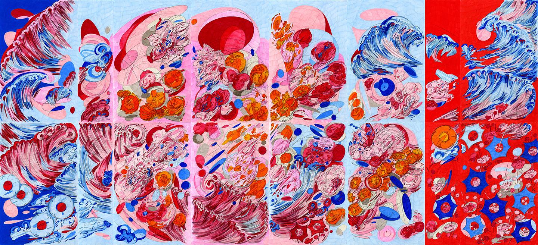 """Double Self Split color #8,  2015/2016, color pencil on paper, 34"""" x 76"""""""