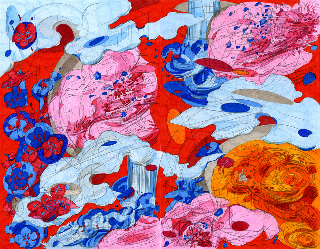 """The Perfect Excuse to Draw A Cartoon Cloud 2 , 2015, color pencil on paper, 17"""" x 22"""""""