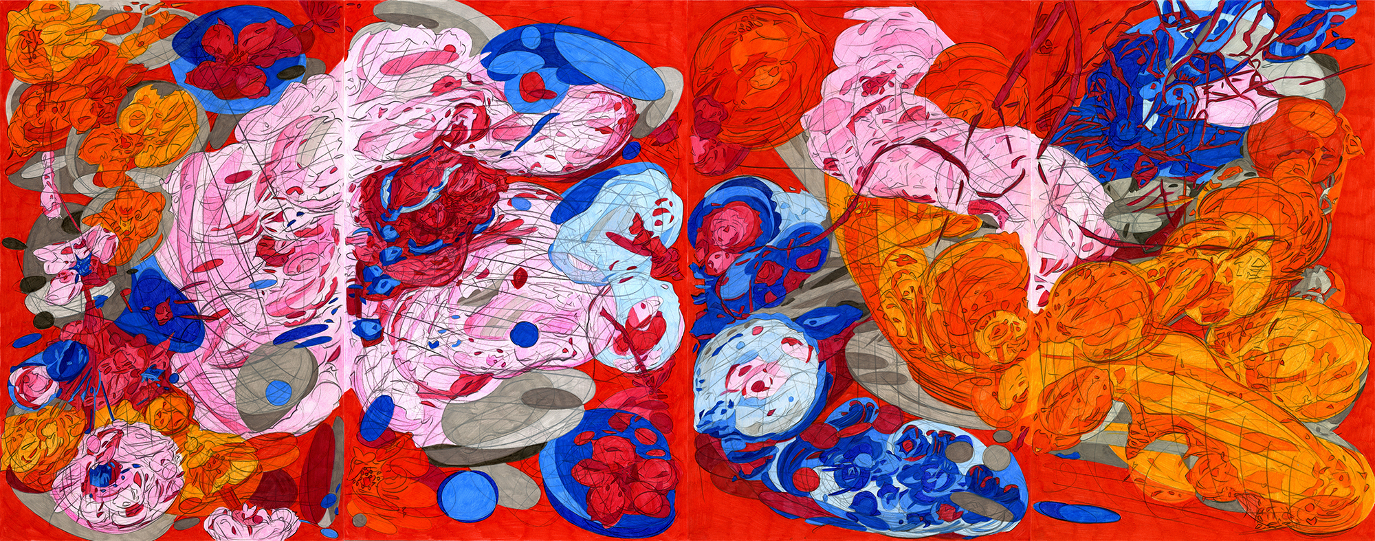 """Lateral Surge,  2015, color pencil on paper,17"""" x 44"""""""