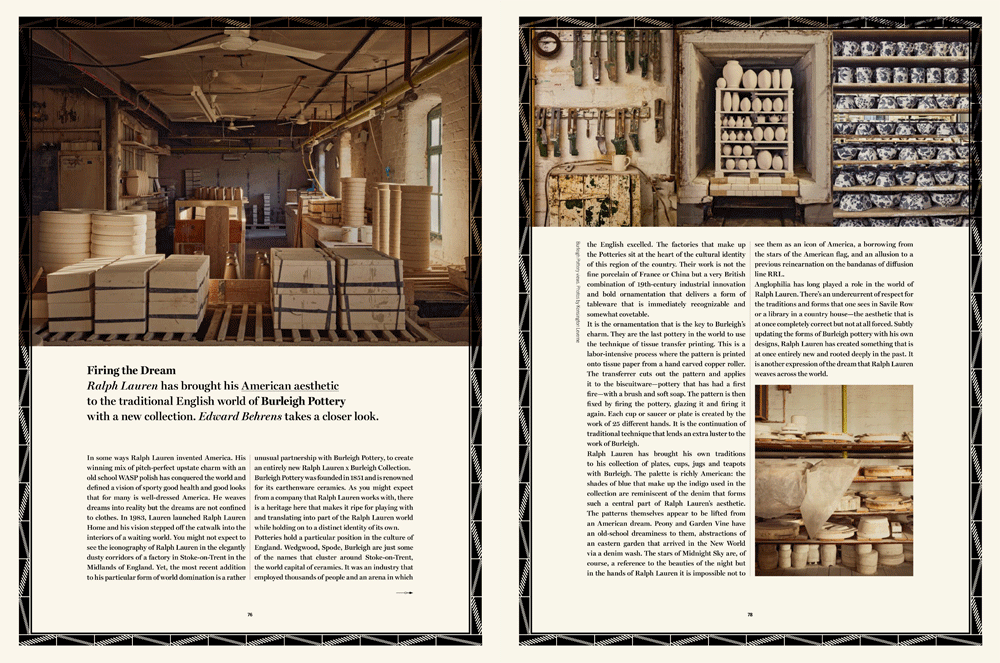 Ralph Lauren X Cabana Magazine. - This Month I photographed Burleigh Potteries for Ralph Lauren and Cabana Magazine. Burleigh Pottery are producing a new range of hand made ceramics for Ralph Lauren this spring with each piece hand made in their 160-year-old factory in Stoke-on-Trent.