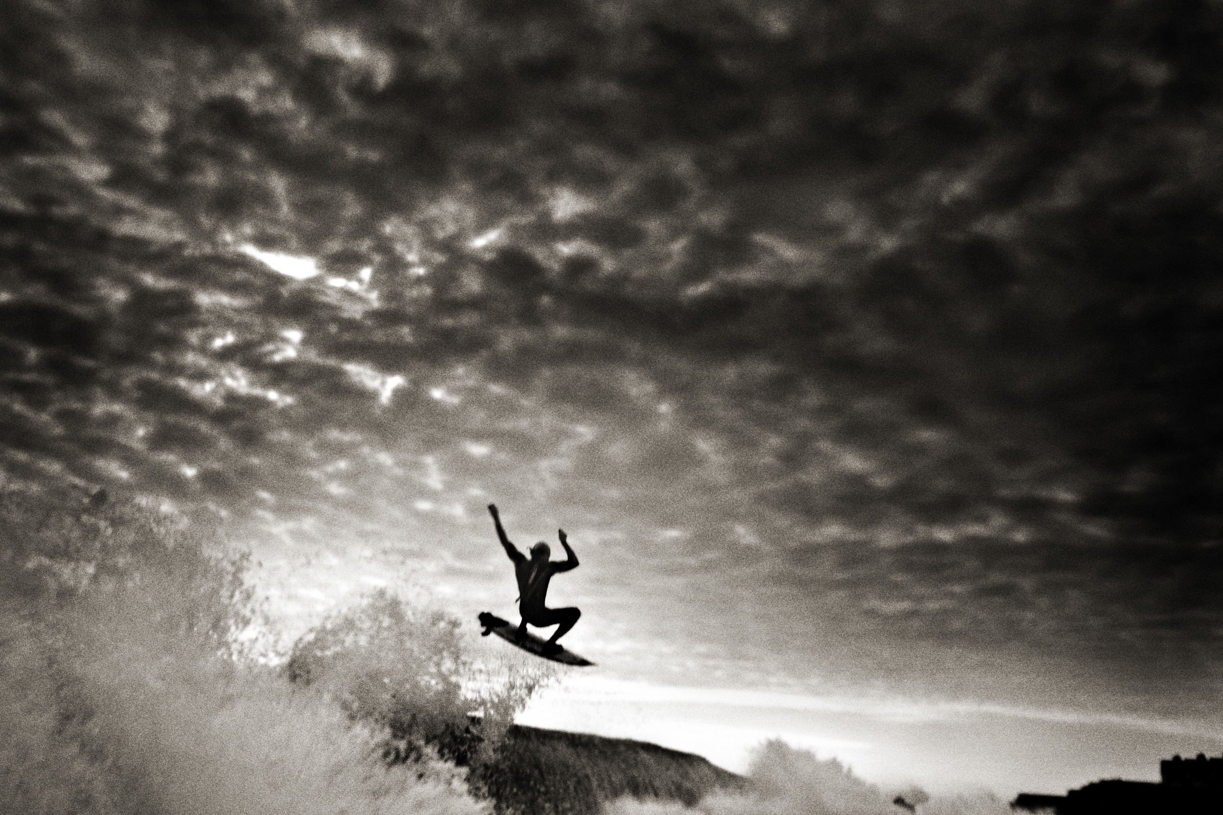 Jesse takes flight under a mackerel sky. This was one of the showcase images in After the Storm, the original project that spawned Legends of the Sandbar. photo Chris Bickford
