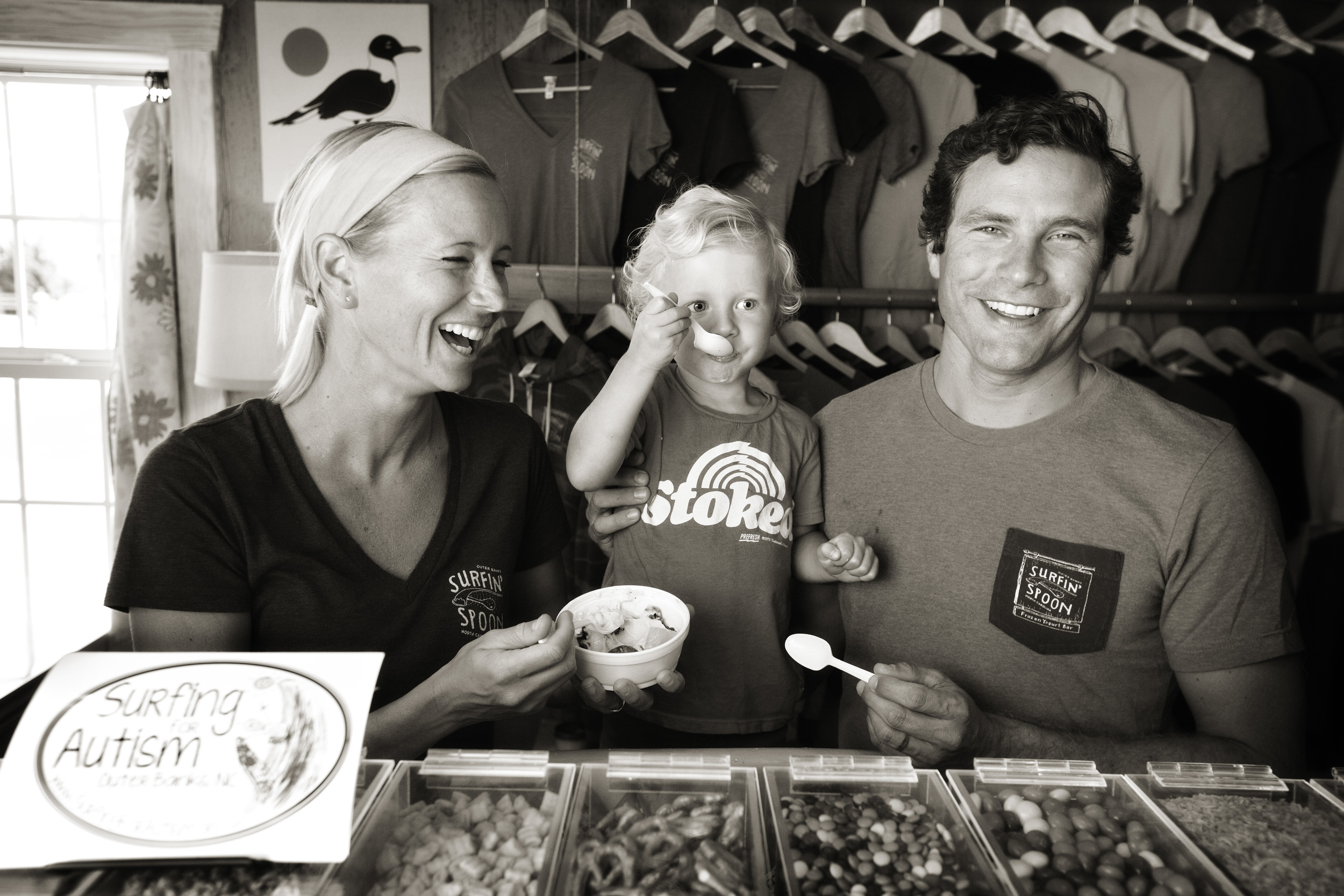 One happy yogurt-eatin' family: Whitney, Bear and Jesse.  photo Chris Bickford