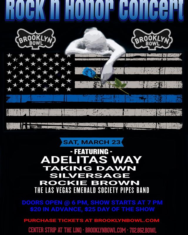 "Join this great event!! 💙 Rock n Honor Concert to support Police Unity Tour ""Team Blue Line Valor"" (18 +) Saturday, March 23 @ 7pm  Featuring: ADELITAS WAY https://youtu.be/5EARTcJ48H0  Taking Dawn https://youtu.be/j6PNZLehuGU  Silversage https://youtu.be/IwAnYEk9ihY  Rockie Brown https://youtu.be/fB5X8L2HrGE"