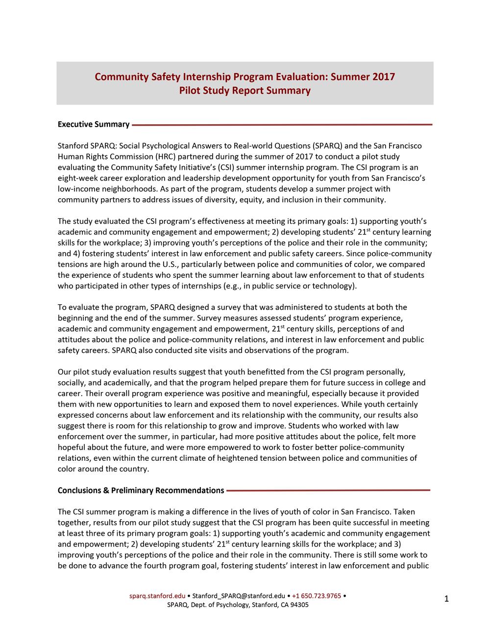 CSI Program Evaluation - Summer 2017 Pilot Study Report Summary