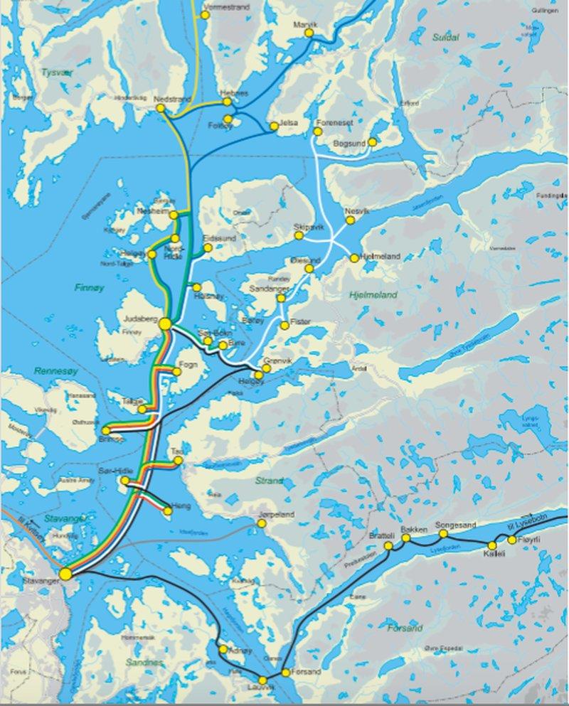 Карта движения  паромов  в Ругаланде, источник: www.kolumbus.no/
