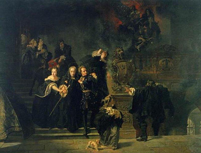 Картина Йохана Хёкертса изображает эвакуацию королевской семьи, на переднем плане младшая сестра короля, на ступенях 14-тилетний король Карл XII со старшей сестрой поддерживают вдовствующую королеву, а на заднем плане спасают труп короля Карла XI Источник: 6*