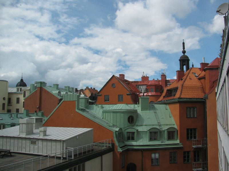 На прощание вид изшколы на внутреный двор с крышами Карлссона