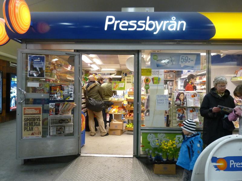 Вот так выглядитрядовой магазинчик Pressbyrån.