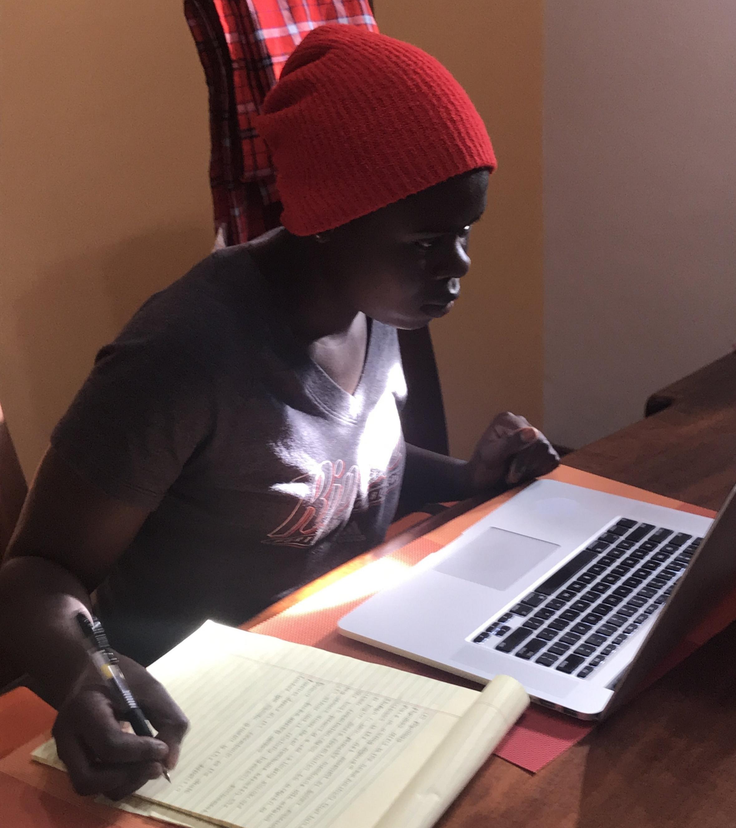 Maureen studying