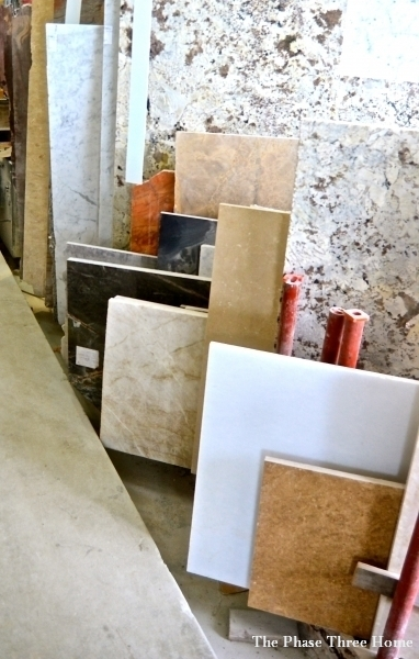 reviving an outdated sofa--selecting marble for a table top