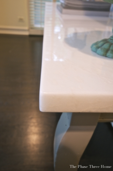 Reinventing an outdated sofa table--adding a marble table top & refinishing the base