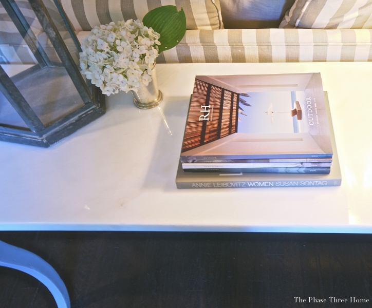 Reinventing an outdated sofa table--restyling accessories