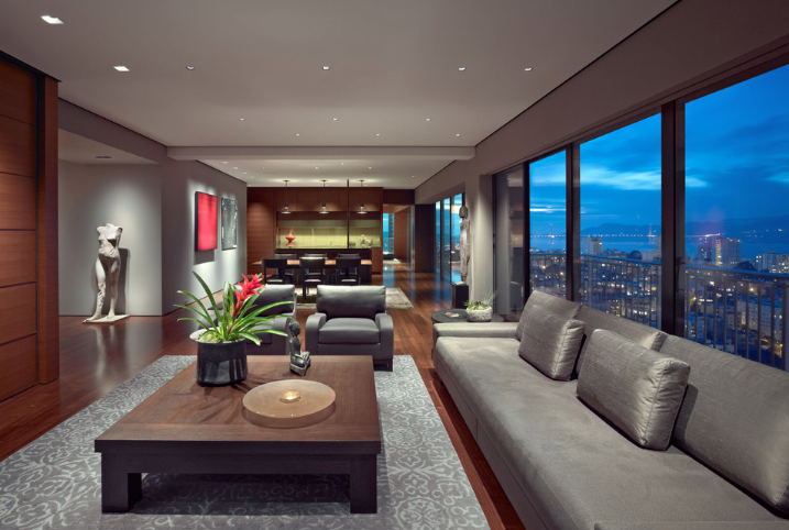 Houzz empty nester hi-rise, Russian Hill-front area