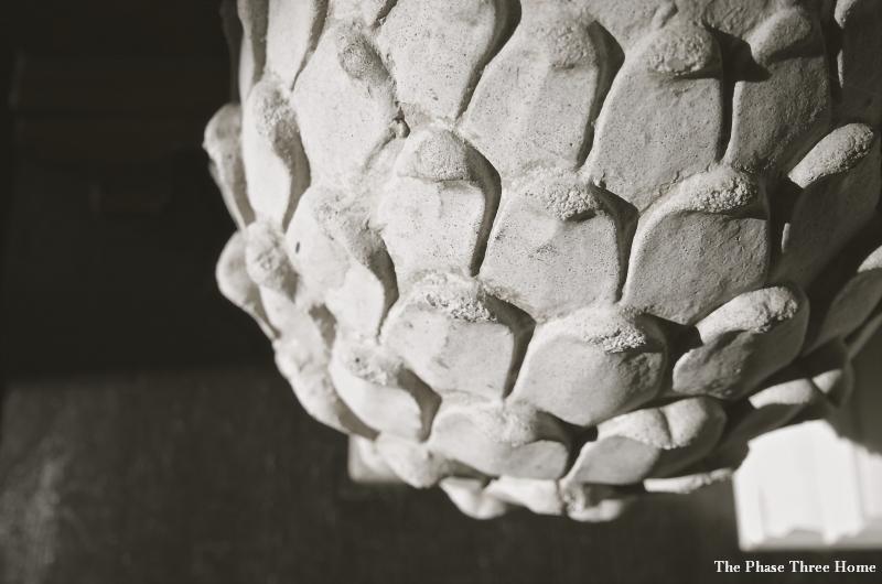 cement garden finial-close up