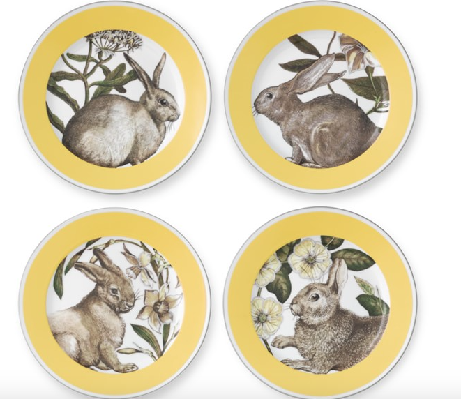 Williams-Sonoma Yellow Banded Easter Plates