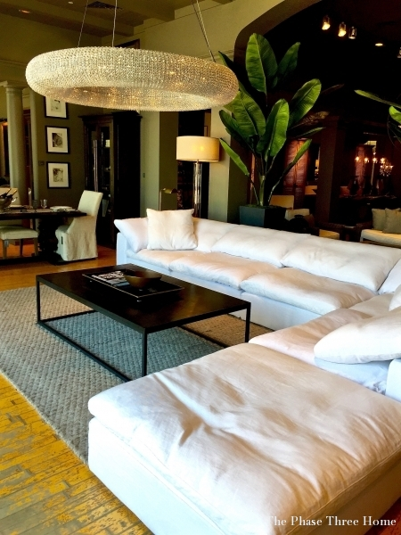 Restoration Hardware industrial vibe seating area
