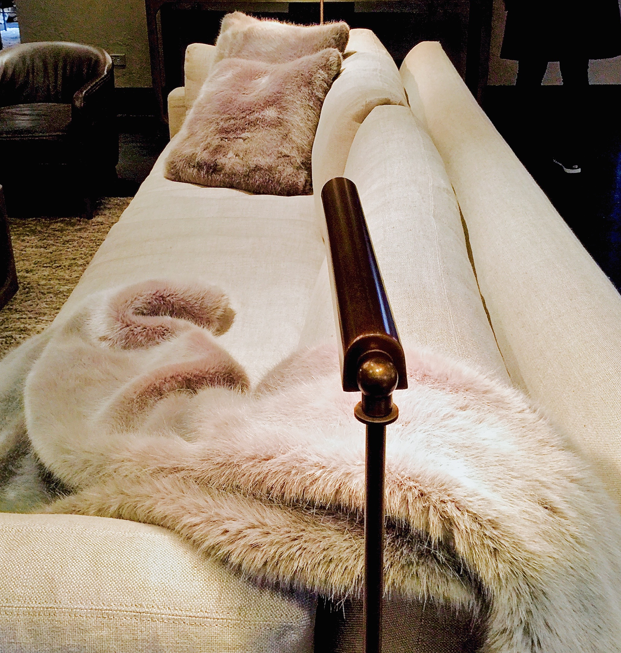 restoration hardware chicago, slipcovered sofa, fur throw and swing arm lamp, the phase three home.jpg